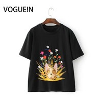 VOGUE N New Womens Casual Cat Print Embroidered Floral Short Sleeve T Shirt Tops Tee