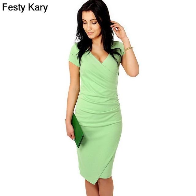 841edda6b323 Festy Kary Sexy Office Lady Style Women Summer Dress 2018 Short Sleeve V  Neck Asymmetrical Vestido Elegant Bandage Party Dress