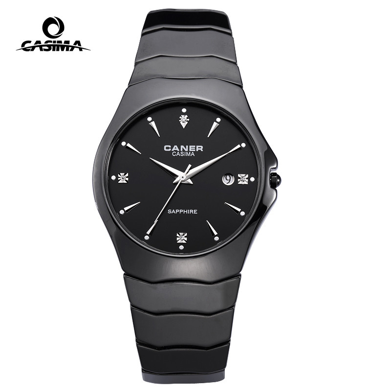все цены на Luxury Brand Couple Watches Fashion Casual Elegant Round Ceramic Black Quartz Wrist Watch Men Women Waterproof 50m CASIMA #6705 онлайн
