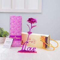 Wishonor 2017 Valentijnsdag & Huwelijksgeschenken 24 k Goudfolie Rose, kunstmatige Gouden Bloemen Met Geschenkdoos en Liefde Base