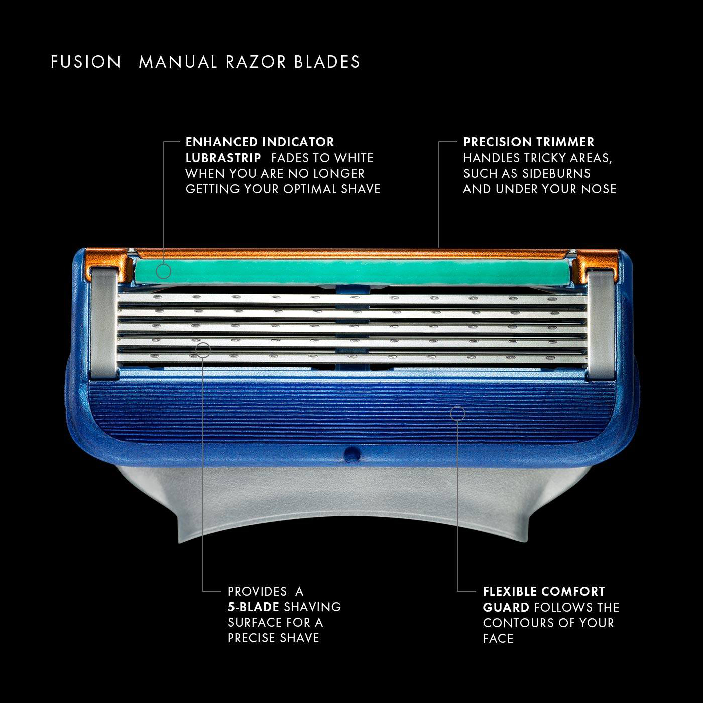 Original Gillette Fusion Shaver Razor Blade Replacement Head For Men Professional Brand Manual Safety Shaving Blades 8pcs/box