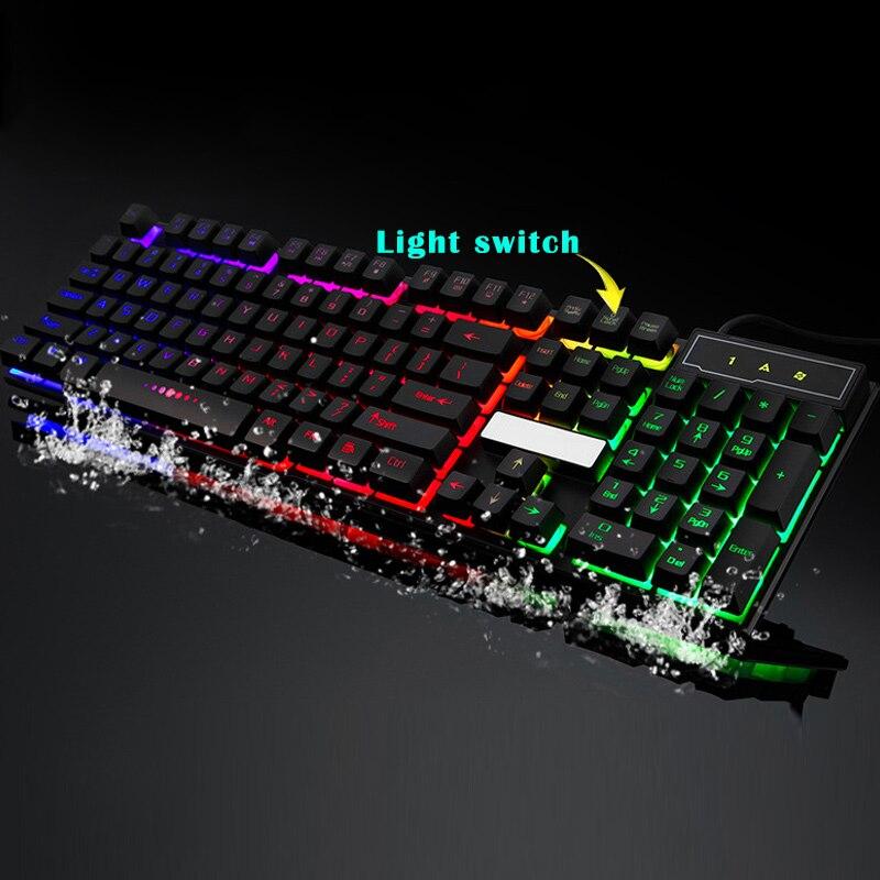 Gaming Keyboard 104 Keys Mechanical Fell Wired USB Keyboards RGB LED Backlit For Overwatch LOL QJY99