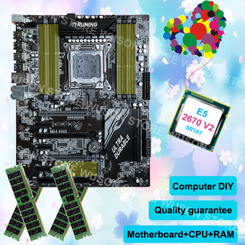 Motherboard CPU RAM set brand Runing super X79 gaming motherboard CPU Intel Xeon E5 2670 V2 2.5GHz SR1A7 RAM 16G(4*4G) DDR3 RECC super quality guarantee brand new runing x79 gaming motherboard cpu intel xeon e5 2640 v2 2 0ghz memory 16g 4 4g ddr3 reg ecc
