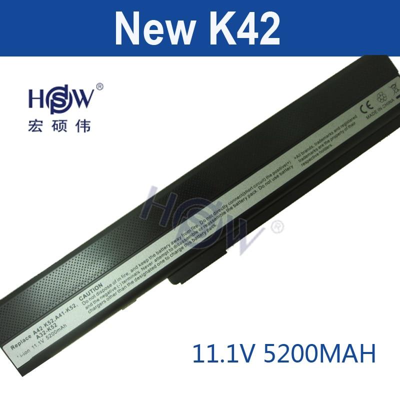 HSW 5200MAH laptop Battery For Asus A52 A52F A52J K42 K42F K52F K52 K52J K52JC K52JE A31-K52 A32-K52 A41-K52 A42-K52 bateria ...