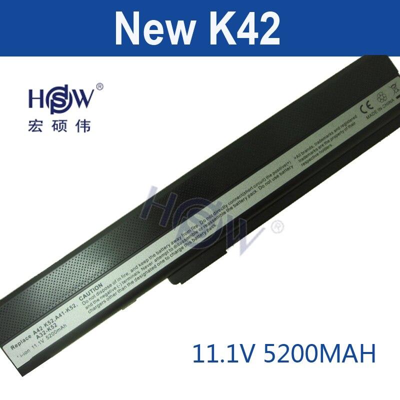 где купить HSW 5200MAH laptop Battery For Asus A52 A52F A52J K42 K42F K52F K52 K52J K52JC K52JE A31-K52 A32-K52 A41-K52 A42-K52 bateria по лучшей цене