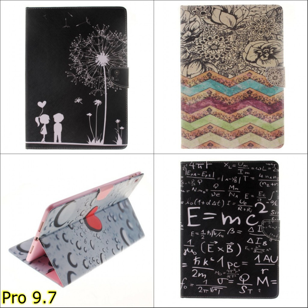Fashion Black with white print PU leather wallet card stand Case Cover Skin for Apple ipad pro 9.7 with stylus pen gift