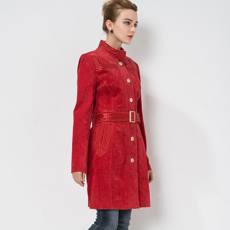 Réel Denim Slim Coupe Trench coat Femmes Véritable Grande 4xl vent En Veste De Porc Peau Cuir Taille Rouge S 64qvafO118