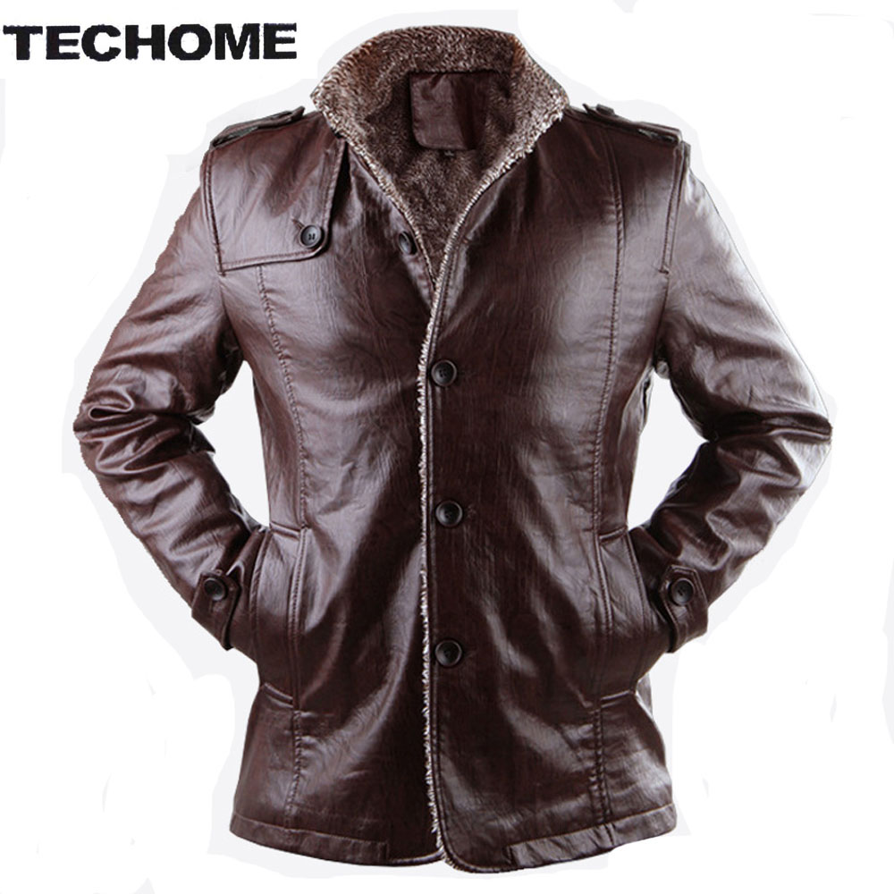 2016 Winter Men Fur Thickening PU leather Windbreak Waterproof Leather Jackets Leather Coat Jaquetas De Couro Coat Plus Size3XL