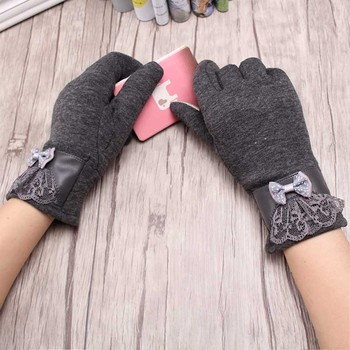 C New Arrival Solid Fashion Lace Bow Mittens Luvas Winter Warm Gloves For Women Girl Windproof Driving Glove