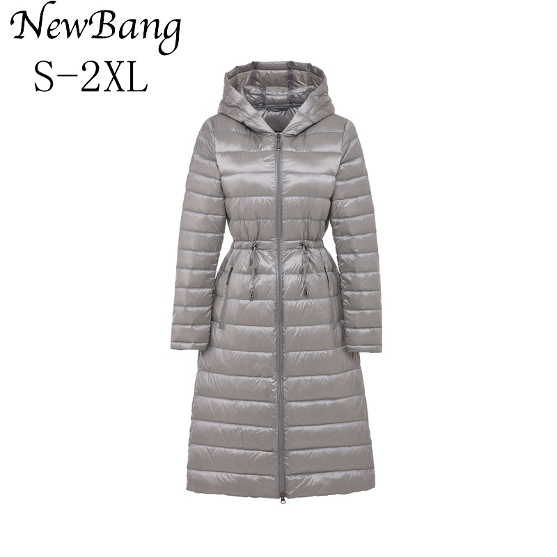 NewBang Brand Long Women's Down Coat Winter Jacket Women Parka With Waist Belt Silm Warm Windbreaker Hooded Coats