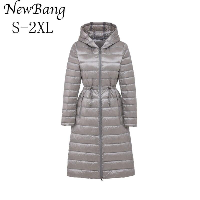 NewBang Brand Long Women's Down Coat Winter Jacket Women Parka With Waist Belt Silm Warm Windbreaker Hooded Coats