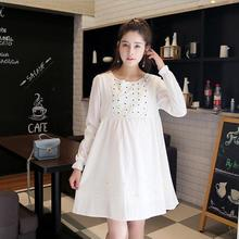 2016 New Autumn Breastfeeding Clothes Pregnant Dress Long Sleeve Nursing Clothes For Pregnant Women Loose Maternity Drsses White