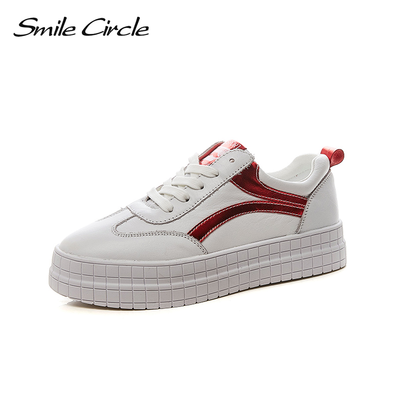 Smile Circle 2018 New Genuine Leather Sneakers Women Lace-up Flats Shoes Women Casual Shoes Round toe Flats platform Shoes C6002 asumer white spring autumn women shoes round toe ladies genuine leather flats shoes casual sneakers single shoes