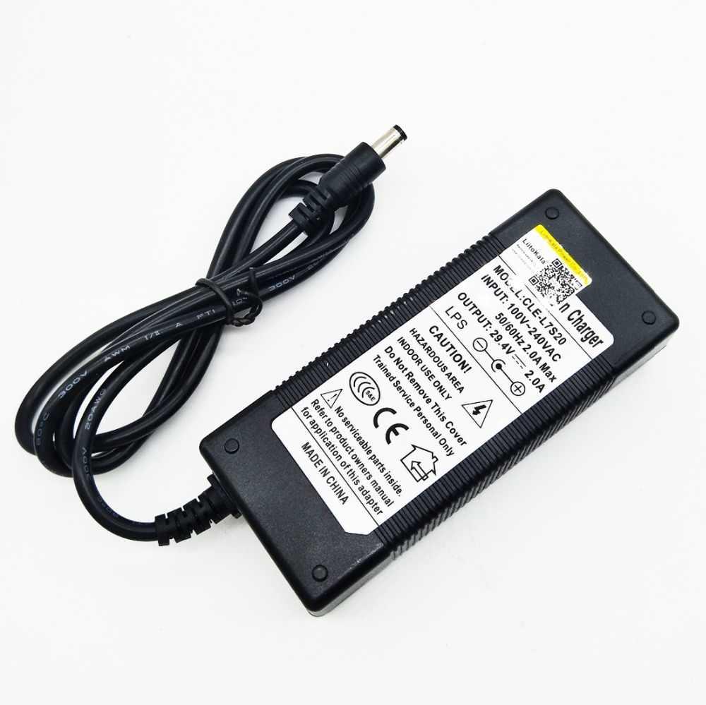LiitoKala wysokiej jakości 29.4V 2A rower elektryczny litowo 18650 ładowarka do 24V 2A bateria litowa wtyczka złącze ładowarki
