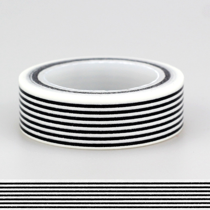 15mm *10m 1pc Black & White Horizontal Stripes Primary Patterned Washi Tape,Adhesives Tape Scrapbooking Craft & Hobby Supplies
