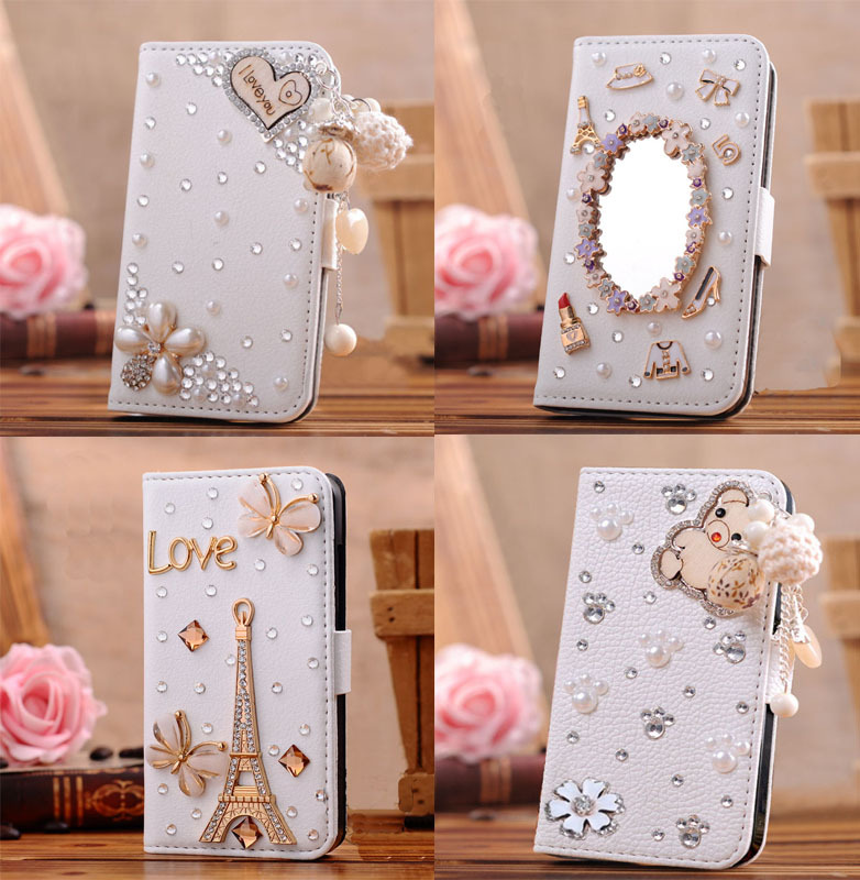 3D Bling Crystal Rhinestone Pearl Bow Heart Makeup Mirror PU Leather Flip Wallet Phone Cases Cover Samsung Galaxy S5 mini - huhu's store