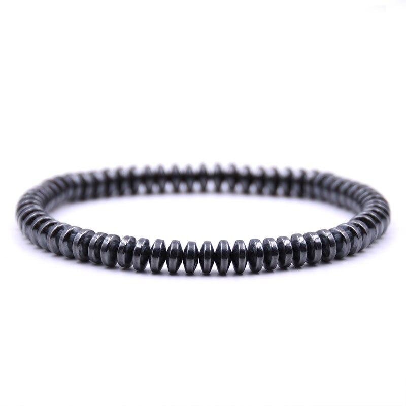 HONEYYIYI 2018 Fashion Hematite Stone Stretch Bracelets & Bangles For Women Charms Bracelet Men Jewelry pulseras