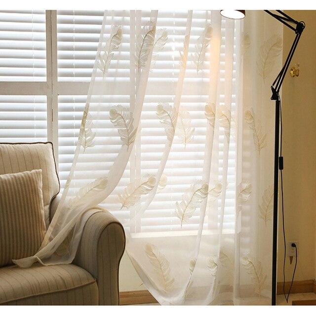 Moderne Coton et Lin Plume Broderie Blanc Sheer Rideaux Pour Salon ...