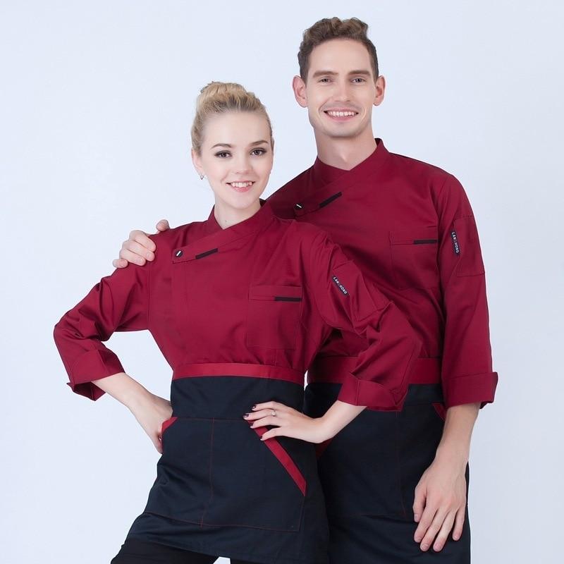 New Design!Restaurant Chef Jacket Bakery&Hotel Kitchen Man Chef Uniform Nice Fabric Long Sleeve Chef Uniform Cook Clothes B 6499