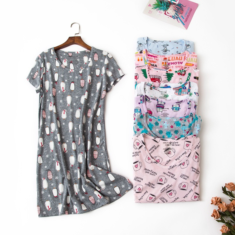 Summer Brand Homewear Women Casual Cotton Nightgown Cartoon Print Nightdress Female Short Sleeve O-neck Collar Sleepwear Dress