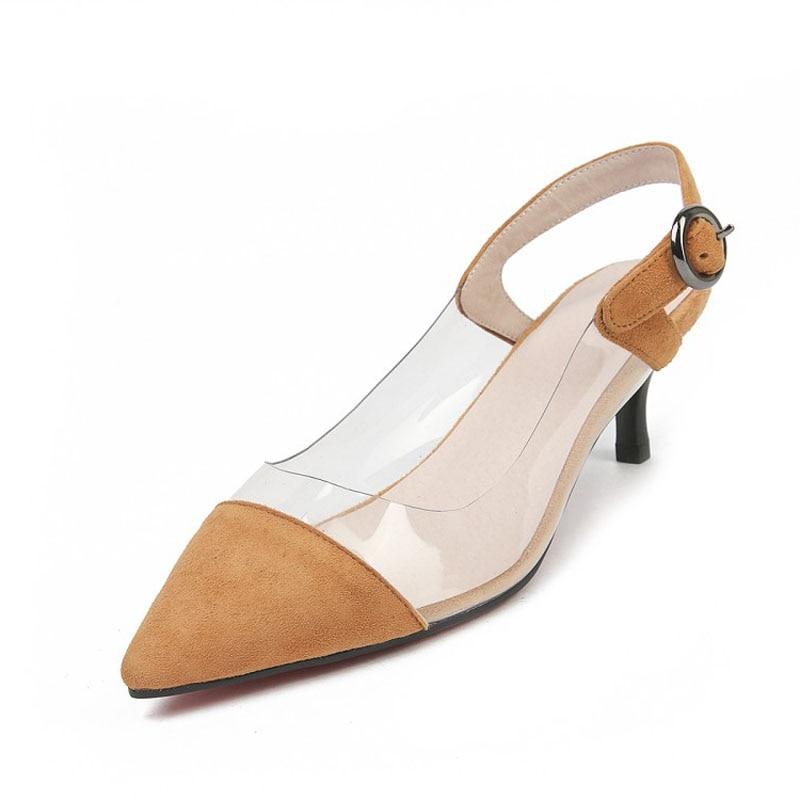 Hebilla Mujeres Casual Correa Zapatos Rosado Tacones Bombas La Señalaron Toe  amarillo Transparente Moda De Señora Delgados ... debd95f727f6