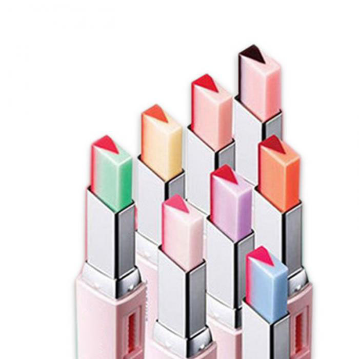2017 Fashion Korean Bite Lipstick V Cutting Two Tone Tint Silky Moisturzing Nourishing Lipsticks Balm Lip Cosmetic FM88