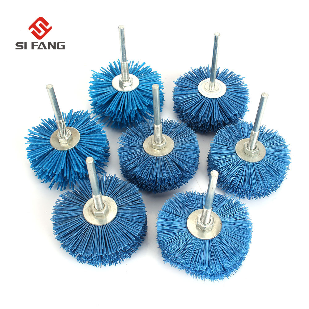 6MM Shaft 80MM Abrasive Wire Grinding Wheel Nylon Bristle Brush For Wood Furniture Mahogany Polishing Rotary Tools