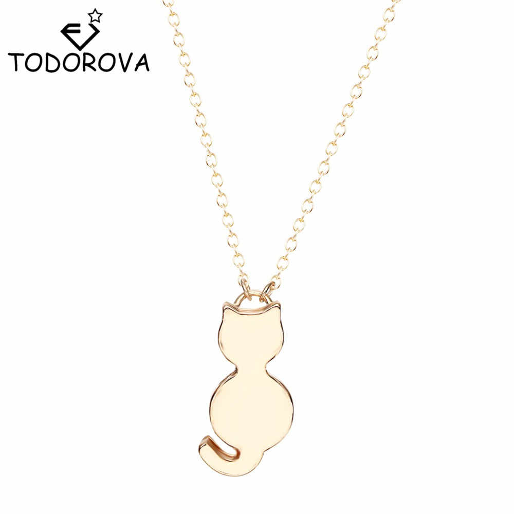 Todorova Tiny Cute Cat Pendant Necklaces for Women Lady Girls Lovely Animal Jewelry