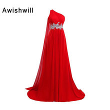 Real Picture Cheap One Shoulder Applique Beaded Chiffon Special Occasion Dresses 2017 Lady Long Red Evening Dress