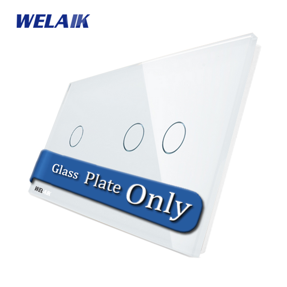 WELAIK Touch Switch DIY Parts Glass Panel Only of Wall Light Switch Black White Crystal Glass Panel 1Gang+2Gang A2911W/B1