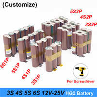 Bateria 18650 hg2 3000 mah 20 ampères 12.6 v a 25.2 v chave de fenda bateria solda tira 3 s 4S 5S 6 s bateria (personalizar)