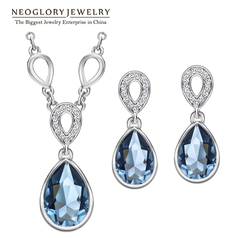 Neoglory  Austrian Crystal Waterdrop Wedding Jewelry Sets Bridemaid Gift Rhinestone 2018 New Charm Brand JS9 Pur1