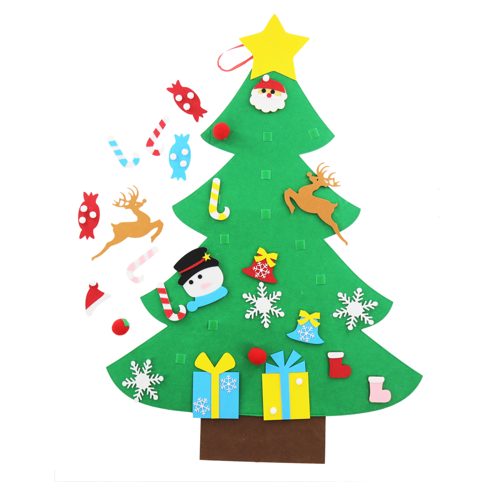 DIY Handmade Felt Christmas tree with ornament Kids Favor ...