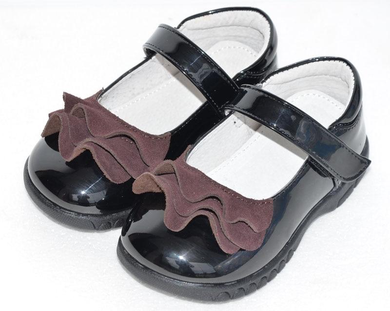 გოგონები ფეხსაცმელი სკოლაში ბავშვის პატარა ფეხსაცმელი შავი სტუდენტი ფეხსაცმელი პატენტი PU ფართო ფეხით SandQ ბავშვი ახალი
