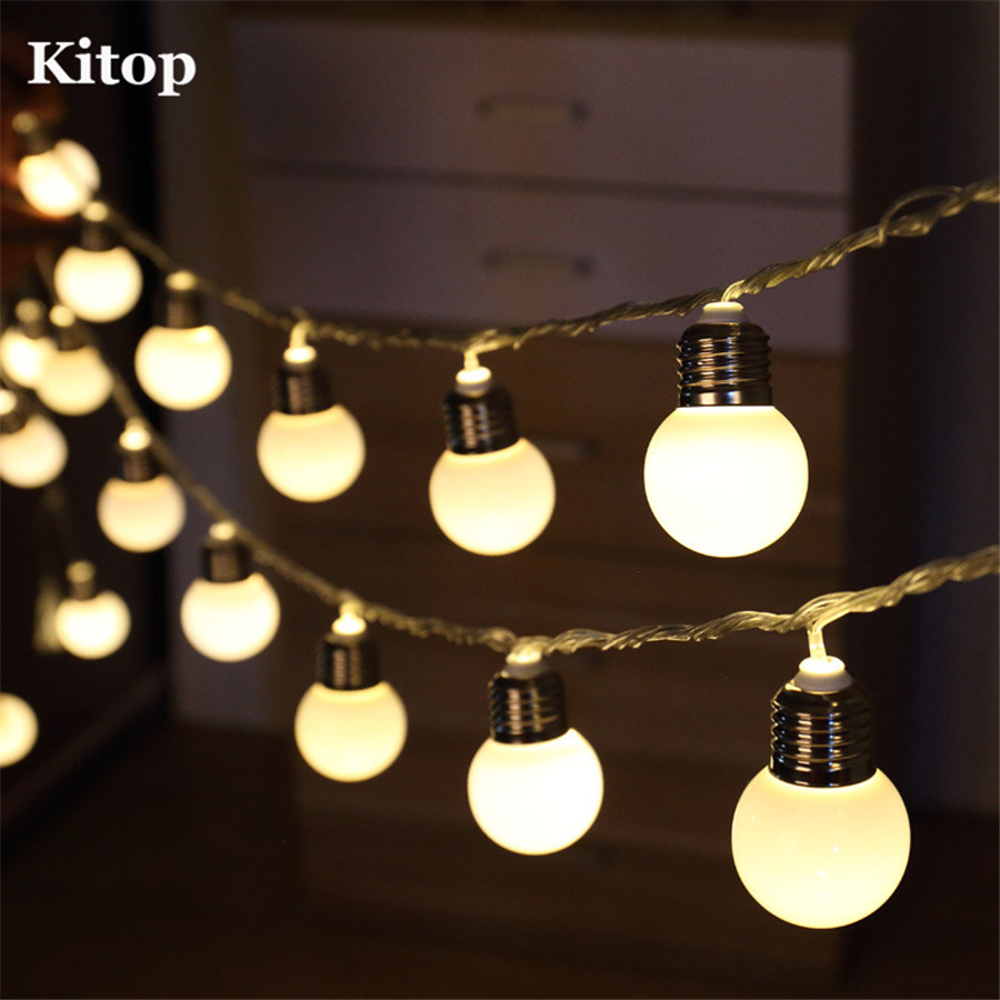 Kitop 8 Modes Solar Led Globe Ball String Lights Indoor Outdoor Decoration Waterproof Starry Lighting