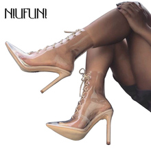 цены Women Boots Sandals Sexy PVC Transparent Pointed Toe Thin High Heels Shoes Jelly Ankle Boots Cross Tied Lace Up Pumps Mujer
