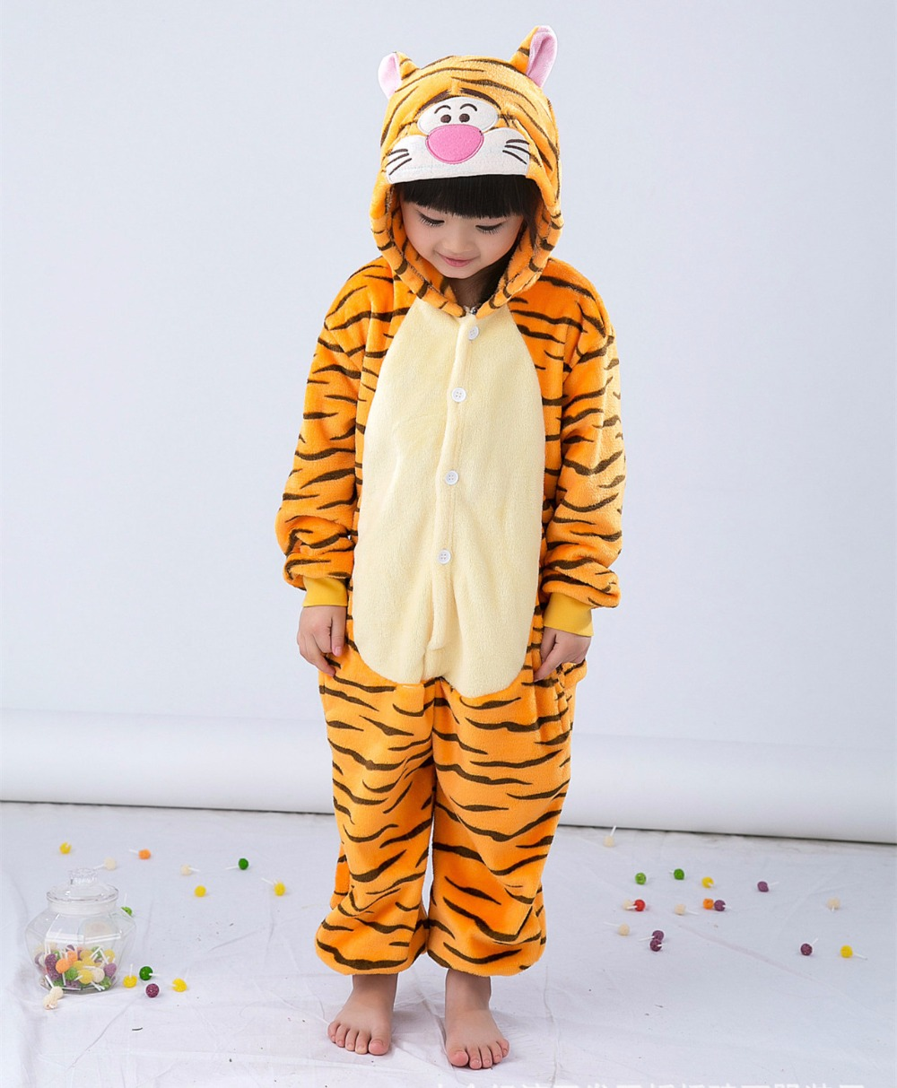 Cizgi filmi Heyvan Onesie Kostyum Tiger Uşaqlar üçün geyimlər, - Karnaval kostyumlar - Fotoqrafiya 5