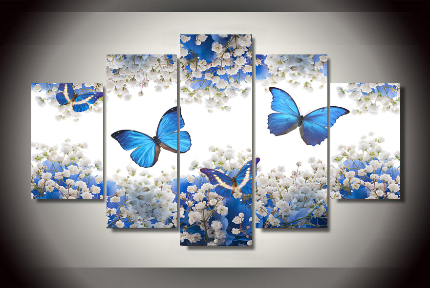 2017 5 Pcs Picture Canvas Blue Butterfly And White Flowers ...