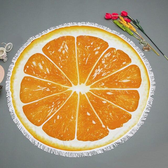Casegrace-serviette de plage ronde dété   Joli tapis de Yoga Orange avec glands, serviettes de bain pour fruits et pique-nique de voyage