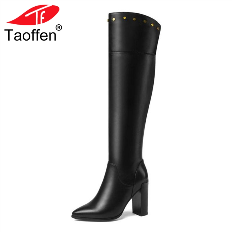 TAOFFEN Women Knee High Boots Genuine Leather Shoes Winter Warm Fur Shoes Woman Sexy Pointed Toe High Heel Boots Size 32-41