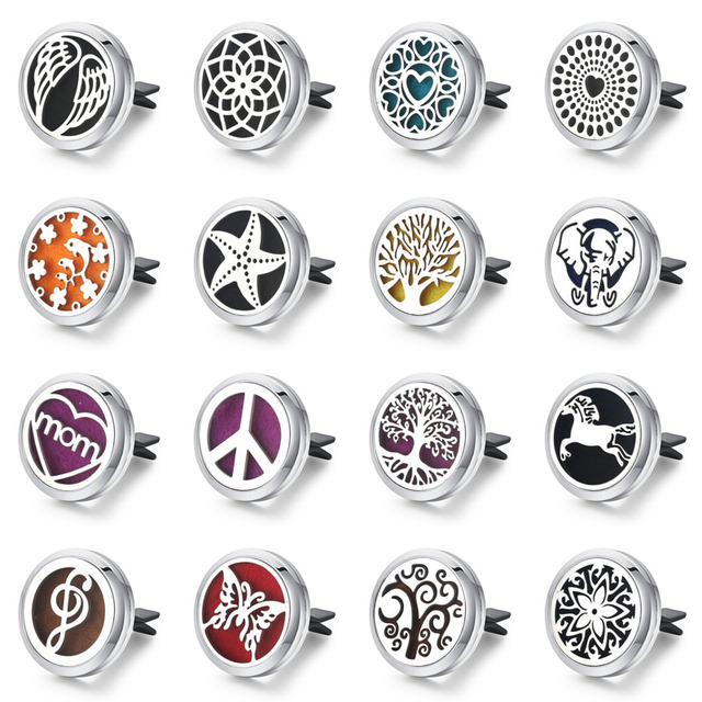 30mm Tree of Life Stainless Steel Car Air Freshener Perfume Essential Oil Diffus