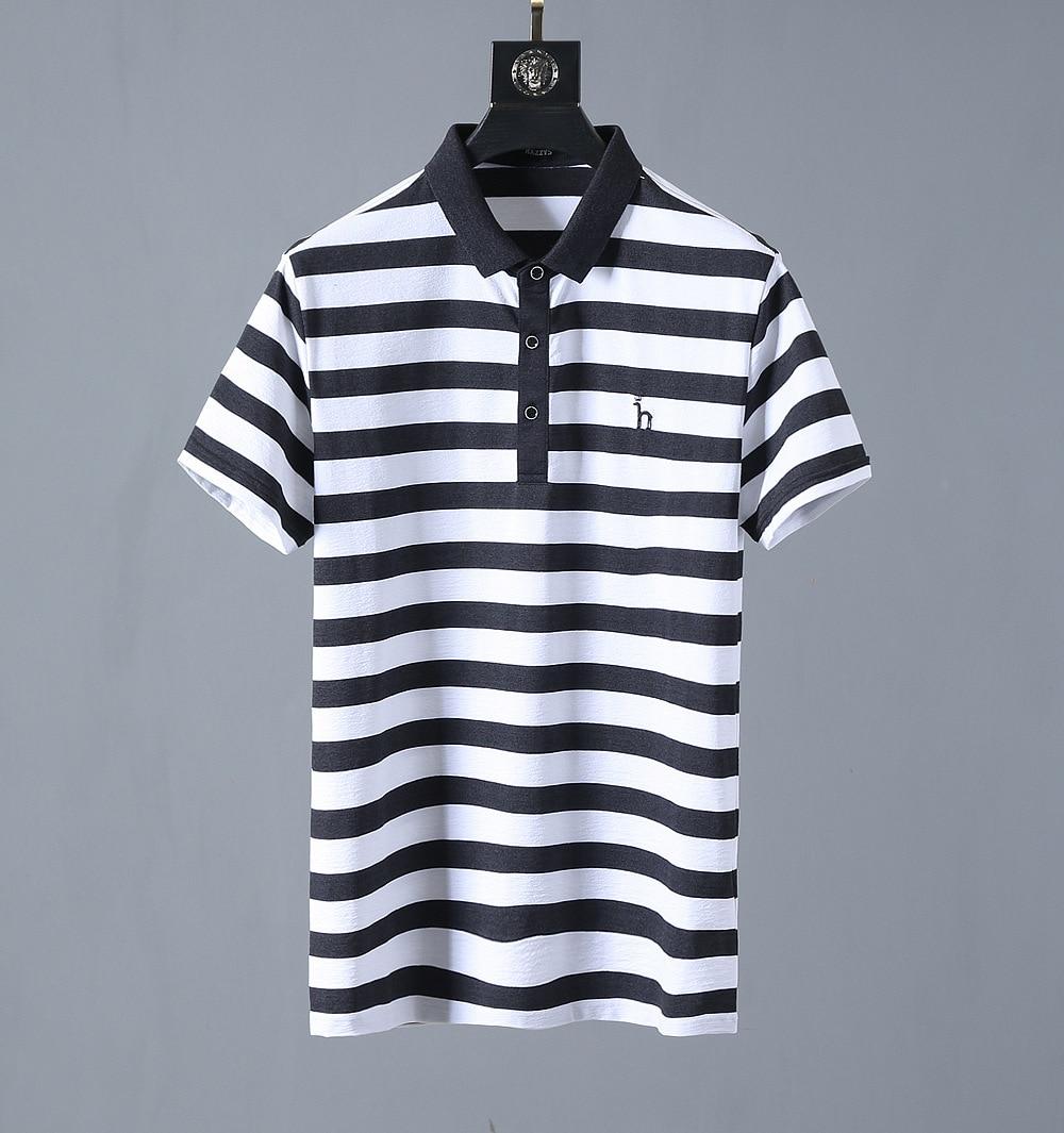 High New Striped 2019 Men collar Embroidered Crown H Fashion   Polo   Shirts Shirt Hip Hop Skateboard Cotton   Polos   Top Tee #K69