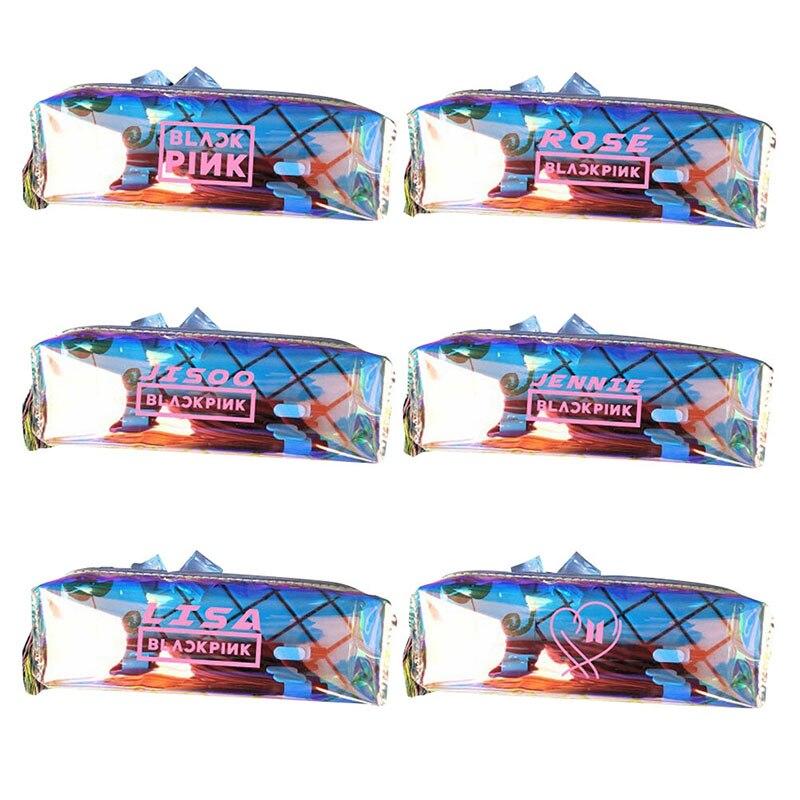 Humble 1pcs K-pop Bts Bangtan Boys Colorful Rainbow Laser Pencil Case Blackpink Transparent Pvc Pencil Bag School Supplies