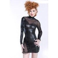 Dower Me Black Long Sleeve Mini Solid Ruffle Turtleneck Dress Lace Net Yarn Vinyl Faux Leather