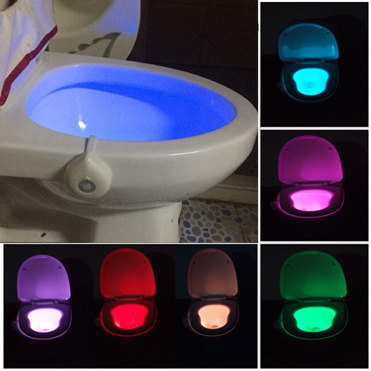 8 Color LED RGB Motion Automatic Sensor Toliet Night Light Toilet Seat Lamp ABS White Body Human Motion Activated