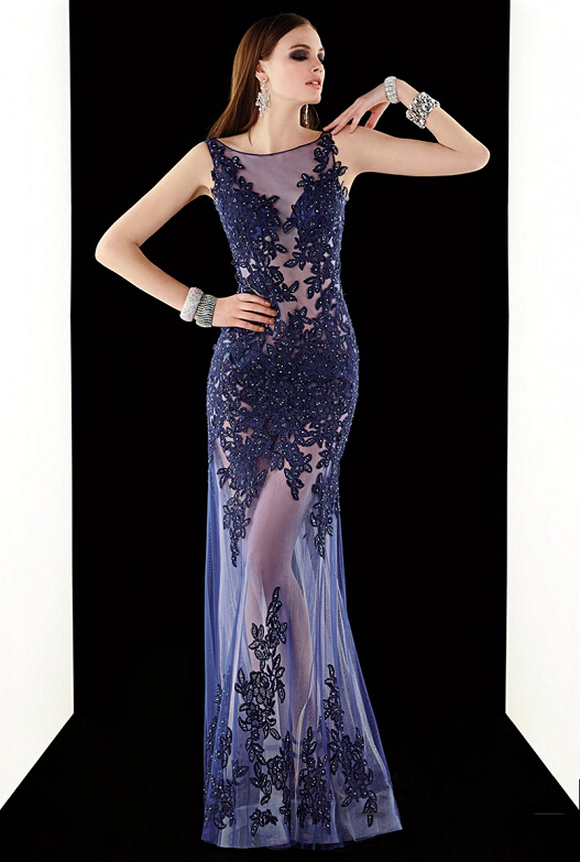 Vnaix E2093 Fashionable ScoopTulle Applique Open Back See Through A Line Beaded Sexy Royal Blue Long Lace 2015 Evening Dresses in Evening Dresses from Weddings Events