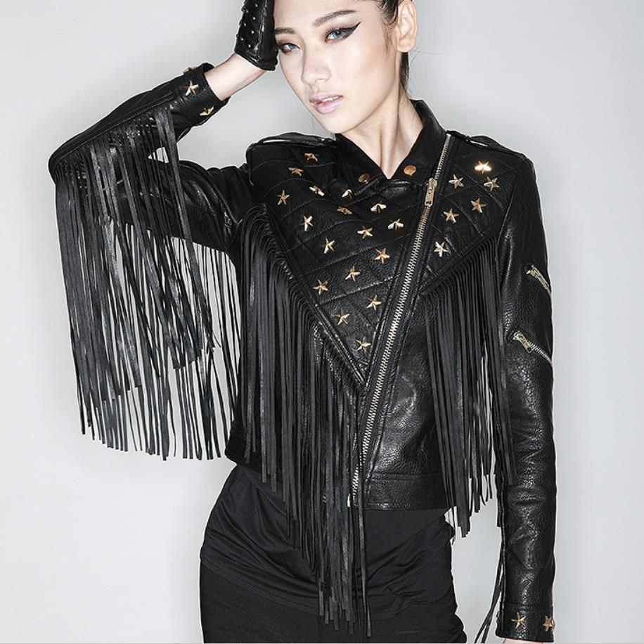 Factoryoutlet 2019 winter new fashion female short paragraph Slim pu   leather   motorcycle beading tassel   leather   jacket W1523