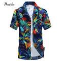 TOP Tamanho Grande Luxo Elegante Manga Curta Mens Camisas de Vestido nova Flor Casual Camisa Dos Homens dos homens Primavera Verão Top Havaiano camisa
