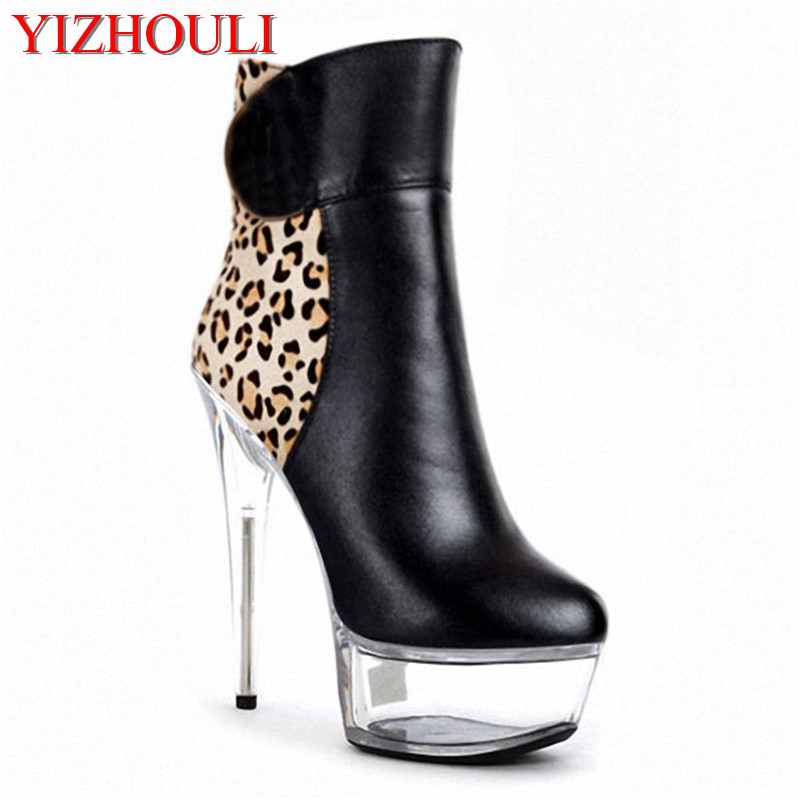 Sexy leopard print low - cut short boots 15cm high and waterproof platform,  Nightclubs are high-heeled boots and sexy women e86648d98b5