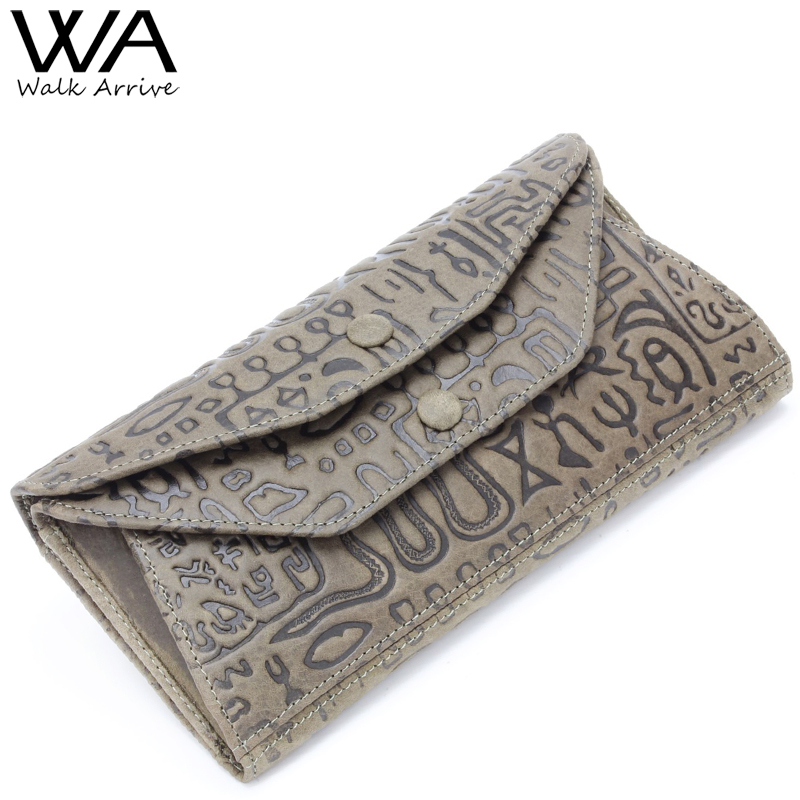 Walk Arrive Genuine Leather Women Wallet Embossed Leather Lady's Long Clutch with High Capacity Girl Purse Coins Holder